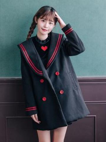 Sailor Collar Double-Breasted Coat