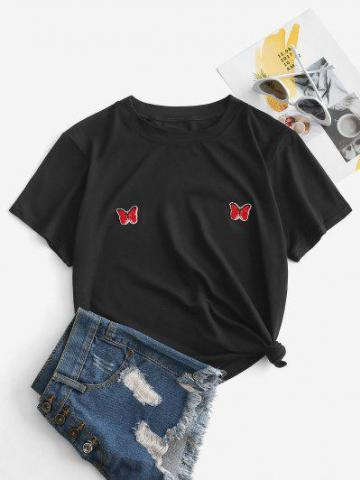 Sequined Butterfly Applique T shirt