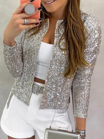 Sequins Puff sleeve Casual Womens Jacket