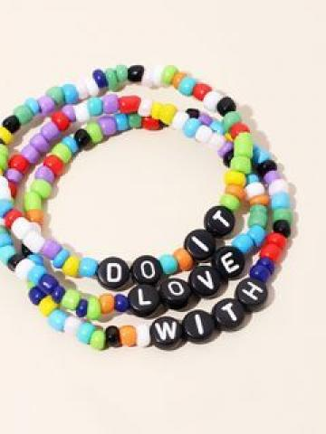 Set of 3: Alphabet Bead Bracelet Set of 3 - Multicolor - One Size