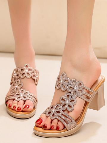 Sexy golden mid-heel rhinestone lady thick with flower sandals