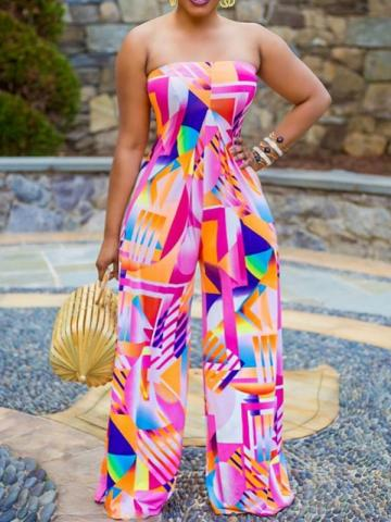 Sexy Print Color Block Full Length Mid Waist Womens Jumpsuit