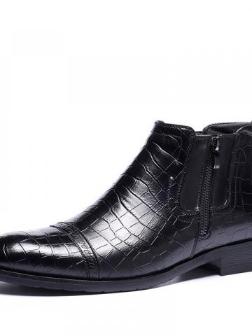 Shoespie Flat Side Zipper Pointed Toe PU Mens Ankle Boots