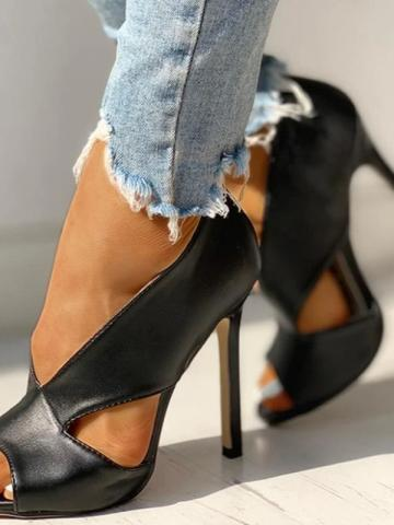 Shoespie Stylish Hollow Stiletto Heel Slip-On Plain Thin Shoes