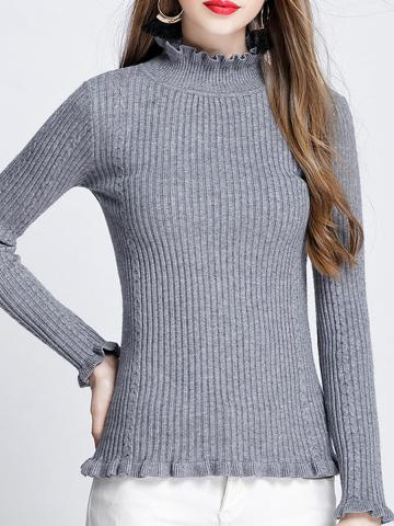 Short High Collar Plain Long Sleeve Knit Pullover