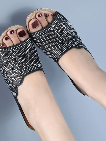 Slippers female slope with fashion rhinestone sandals
