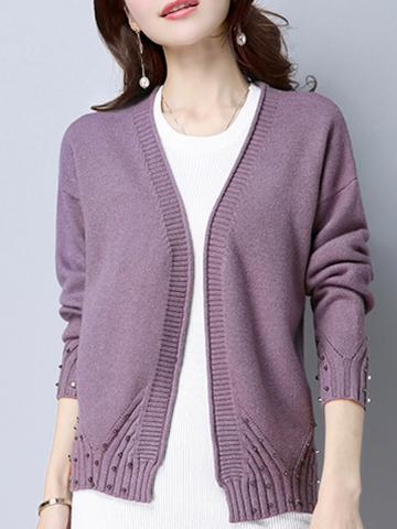 Solid color short coat with beads knitted cardigan loose and versatile  sweater