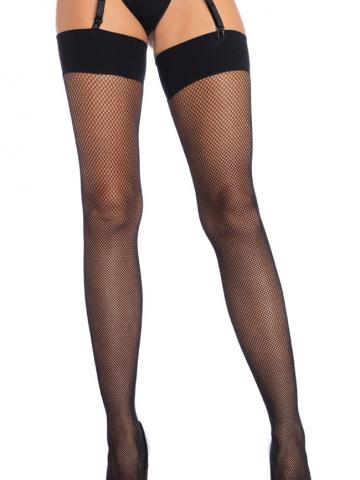 Solid Top Fishnet Thigh High Stockings by Leg Avenue, Black - Yandy.com