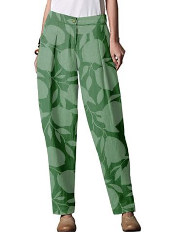 Spring and Autumn New Fresh Green Printed Casual Wide Leg Pants