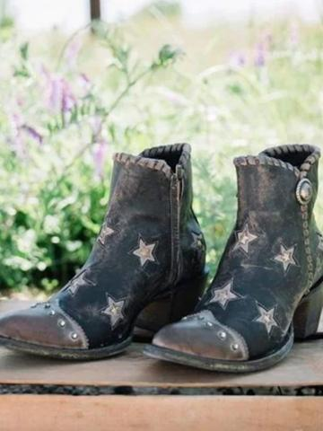 Star  Chunky  Point Toe Boots