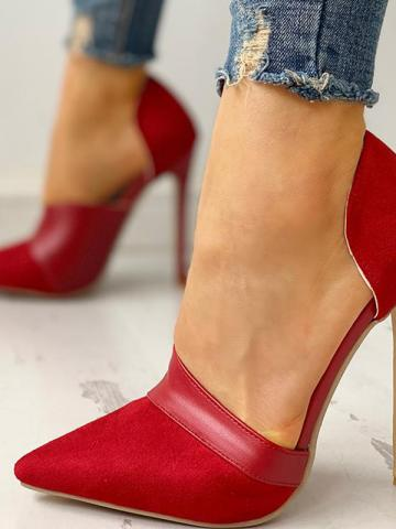 Stiletto pointe shallow mouth side air high heels