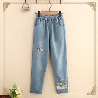 Straight-Fit Embroidered Jeans