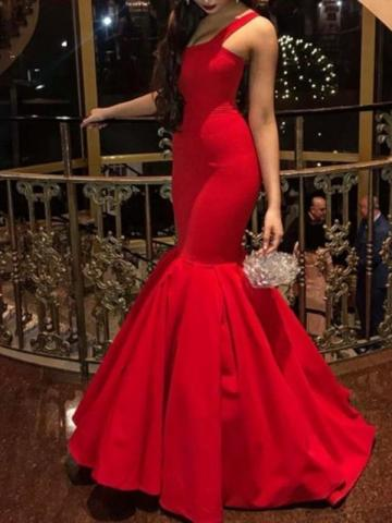 Straps Mermaid Pure Red Evening Dress 2019