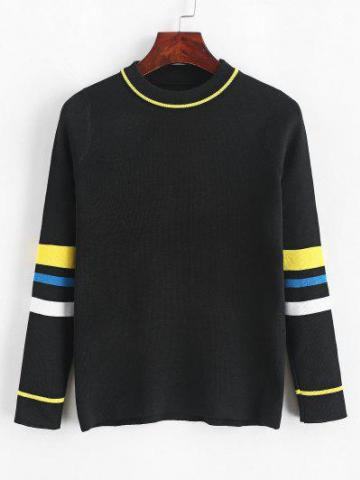 Stripes Panel Crew Neck Sweater