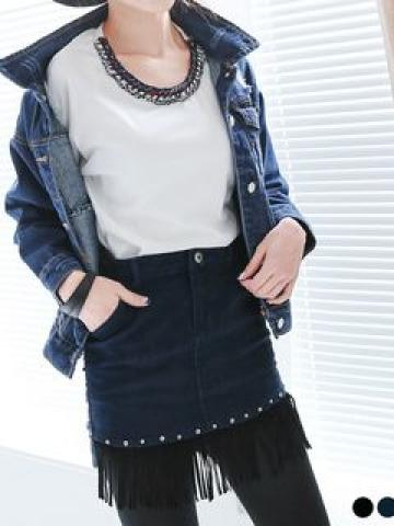 Studded Fringed Skirt