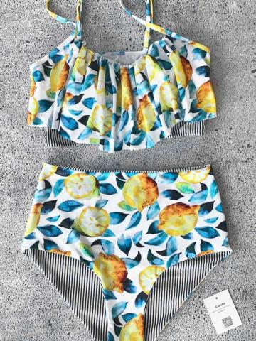 Summer Lemon Falbala Bikini Set