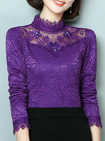 Tachibana  Patchwork  Beads  Elegant  Lace  Long Sleeve  Blouse