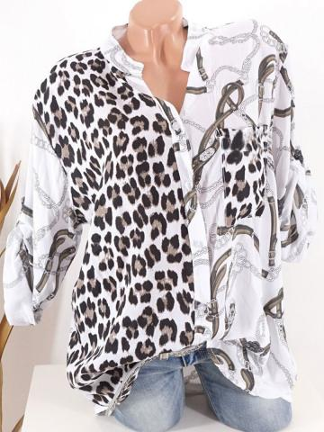 Tachibana  Patchwork  Casual  Leopard Printed  Long Sleeve  Blouse