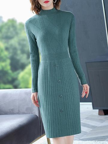 Temperament Knitted Bodycon Dress