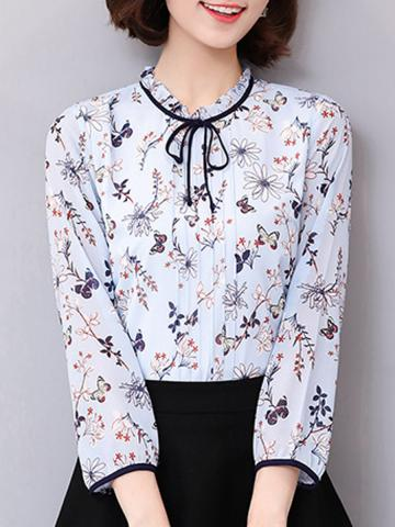 Tie Collar Print Long Sleeve Blouse