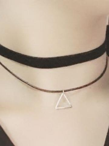 Triangle Pendant Layered Choker As Shown In Figure - One Size