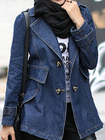 Turn-down Collar Long-sleeved Solid Denim Trench Coat