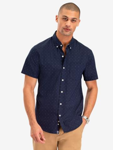 U.S. Polo Assn. - Mens Dot Print Poplin Short Sleeve Shirt - Size S