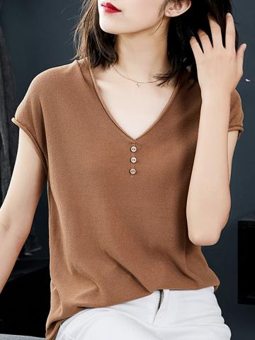 V Neck Buttons Plain Short Sleeve Knit T-shirt