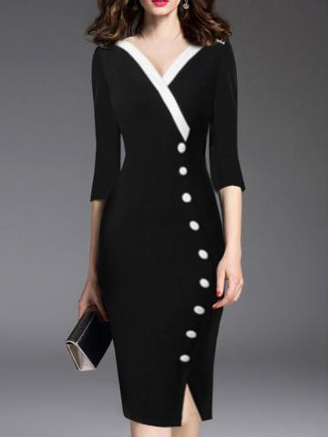 V-Neck Double Breasted Plain Decorative buttons Bodycon Dress