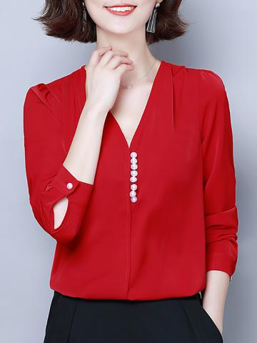 V Neck Elegant Buttons Long Sleeve Blouse