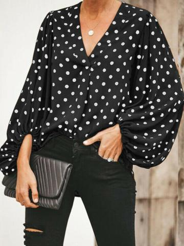 V Neck  Patchwork  Casual  Polka Dot  Puff Sleeve  Long Sleeve  Blouse