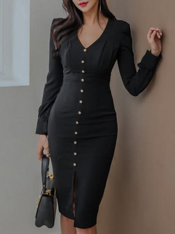 V-Neck Single Breasted Plain Bodycon Dress