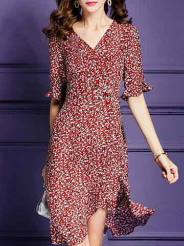 V-Neck Temperament Printed Dress