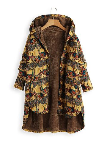Vintage Abstract Printed Single-Breasted Irregular Plus Velvet Hooded Facket