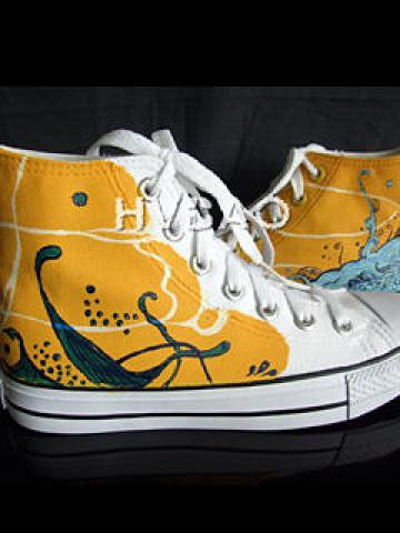Wave High-Top Canvas Sneakers