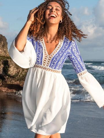 White and Blue Boho Hollow Out Short Dress