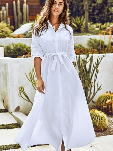 White Maxi Shirt Dress