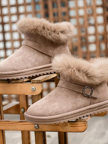Women's casual flat bottom and velvet snow boots