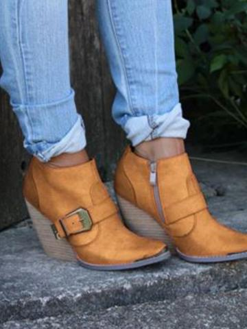 Women's casual solid color belt buckle decorative ankle boots
