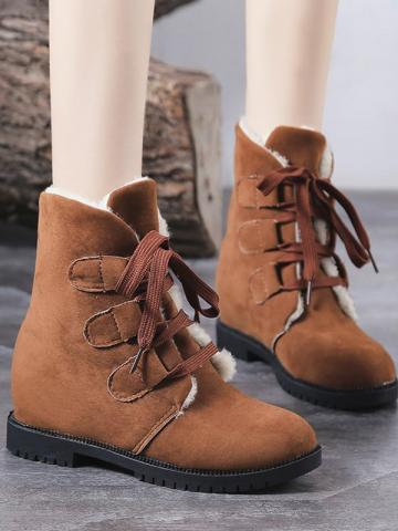 Women's casual solid color lace-up cotton boots