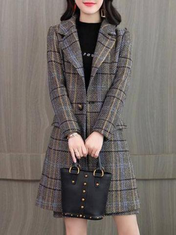Women's Fashion Plaid Midi Coat