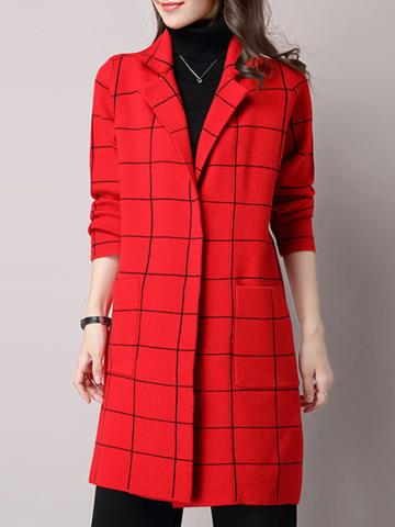 Women's Fashion Plaid Woolen Coat