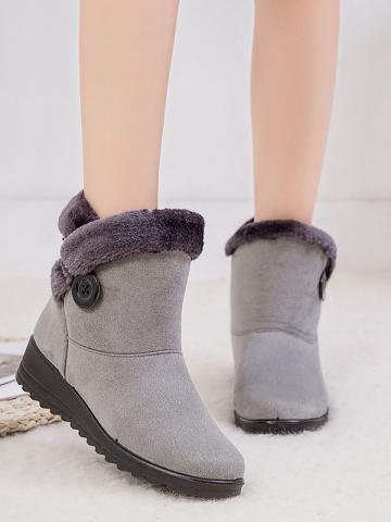 Women's fashion solid color button decorated suede boots