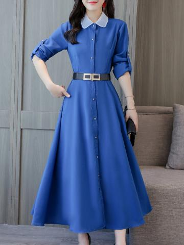 Women's Fashion Temperament Doll Collar Waist Long Sleeve Dress