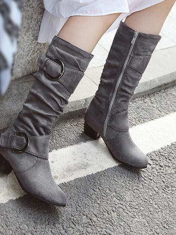Women's fashion thick with solid color boots