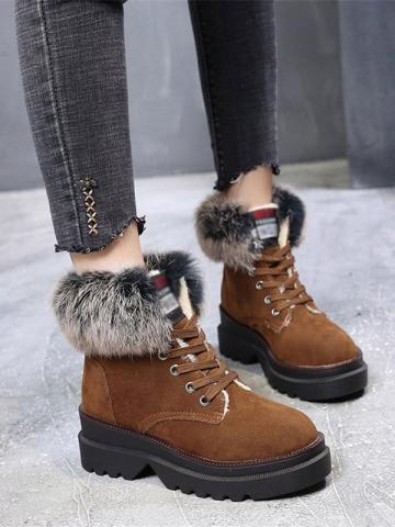 Women's fashion tie with velvet short tube snow boots