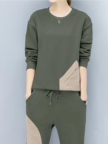 Women's spring and autumn casual suit loose sweater two-piece suit