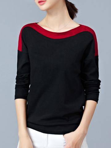 Word Collar  Patchwork  Casual  Color Block  Long Sleeve  T-Shirt