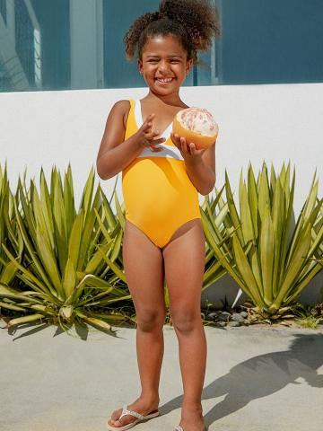Yellow and White One-Piece Swimsuit For Toddler Girls and Girls