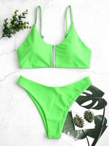 Zip Up High Cut Bikini Swimsuit